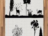 Area Rugs with Wildlife theme Amazon Lunarable Cabin area Rug Monochrome Landscape