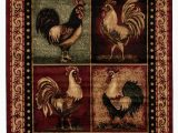 Area Rugs with Wildlife theme Colombier High Quality Woven Ultra soft Traditional southwest Wilderness Rooster theme Red area Rug