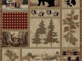 Area Rugs with Wildlife theme Getaway Trail area Rug Runner Lodge Cabin Bear Duck Deer Pine Cone Matching Set
