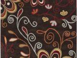 Athena Garden Floral area Rugs athena ath 5037 Chocolate by Surya Carpet Inc