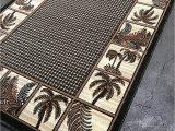 Avanti Banana Palm Bath Rug Palm Tree Modern area Rug Tropical Green Black Design 728 8 Feet X 10 Feet