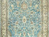 Baby Blue oriental Rug Light Blue Antique Persian Khorassan Rug by Nazmiyal