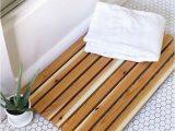 Bamboo Bath Mats Rugs White Bathroom with Honey B Tile Flooring Containing