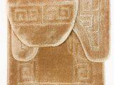 "Bath Mat Rug Set 3 Piece Bath Rug Set Pattern Bathroom Rug 20""x32"" Contour Mat 20""x20"" with Lid Cover Beige"