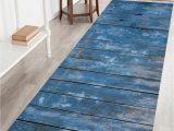 Bath Rug 60 Inches Long Blue Wood Grain Print Bathroom Rug