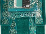 Bath Rug and Contour Set 4 Piece Bathroom Rugs Set Non Slip Teal Gold Bath Rug toilet Contour Mat with Fabric Shower Curtain and Matching Rings Florida Teal