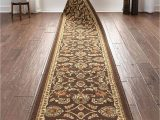"""Bath Rug Runner 22 X 60 Well Woven Custom Size 22"""" Wide by Select Your Runner Length Non Slip Rubber Backed Machine Washable Halll Rug Timeless oriental Brown Indoor Outdoor"""