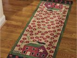 Bath Rug Runner 24 X 72 375 37 Primitive Spice Red House Hooked Rug Runner Size 24×72