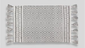 Bath Rug with Tassels Geometric Tassel Bath Mat 80cm X 50cm – Grey