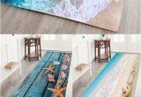Bath Rugs that Absorb Water Sea Beach Print Flannel Skid Resistance Water Absorb Carpet