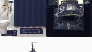 Bathroom Rugs and Accessories 22 Piece Bath Accessory Set Navy Blue Flower Bathroom Rug Set Shower Curtain & Accessories