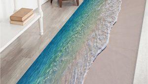 Bathroom Rugs Multi Color Multi W24 Inch L71 Inch Beach Seawaves Print Floor area