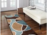 "Better Homes and Gardens area Rug Waves Better Homes and Gardens Geo Wave Printed Nylon Rug 1 11"" X 5 6"" Runner Blue Brown"