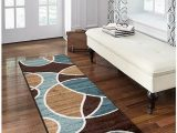 """Better Homes Gardens Iron Fleur Indoor area Rug Better Homes and Gardens Geo Wave Printed Nylon Rug 1 11"""" X 5 6"""" Runner Blue Brown"""