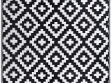 Black and White area Rugs 3×5 Fh Home Indoor Outdoor Recycled Plastic Floor Mat Rug Reversible Weather & Uv Resistant Aztec Black White 5 Ft X 8 Ft