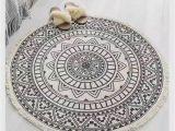 Black and White Round area Rugs Black & White Round Mandala area Rug