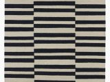 Black and White Striped area Rug 8×10 Misaligned Stripes Ripple Across This Black and Beige Flat