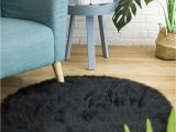 Black Faux Fur area Rug Ciicool soft Faux Sheepskin Fur area Rugs Fluffy Rugs for Bedroom Silky Fuzzy Carpet Furry Rug for Living Room Girls Rooms Black Round 3 X 3 Feet