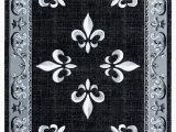 Black Fleur De Lis area Rug Goines Black Gray White area Rug