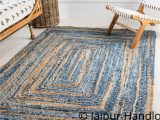 Blue and Beige Bathroom Rugs Indian Casual Handmade Braided Blue Color Denim and Jute area Rugs 4×6 Ft