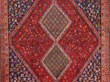 "Blue and Burgundy area Rugs E Of A Kind Tadi Traditional Ghashghaei Shiraz Persian Hand Knotted 4 8"" X 6 1"" Wool Blue Burgundy Beige area Rug"