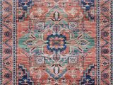 Blue and Coral area Rug Cielo Coral area Rug