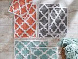 Blue and Gray Bath Rug Treat Your Feet with Kindness Trellis Bath Mats In Blue
