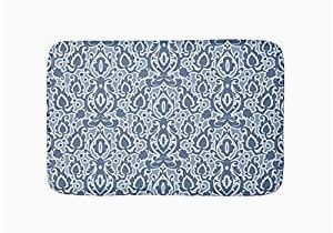 Blue and Gray Bathroom Rugs Amazon Com Moroccan Blue Gray Casbah Damask Bathroom Bath