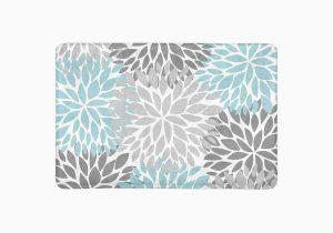 Blue and Gray Bathroom Rugs Mkhert Dahlia Pinnata Flower Light Blue and Gradient Gray