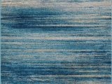 Blue and Gray Striped Rug Ocean Inspired Minimalist Design Faded with Transitional