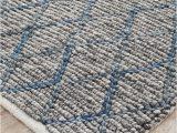 Blue and Gray Wool Rug Negola Luxury Madras Felted Wool Rug Blue Grey