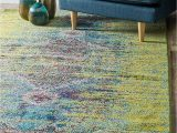 Blue and Green Rug 8 X 10 Unique Loom Vita Collection Over Dyed Abstract Green area