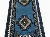 Blue and Green Runner Rug Kingdom southwest Native American area Runner Rug Blue Green Design D143 2 Feet X 7 Feet