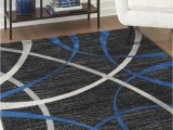 Blue and Grey Living Room Rugs Jenue Black Gray Blue Rug
