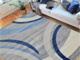 Blue and White area Rugs 5×7 Hr Abstract Rugs Luxury Livingroom Carpet Modern