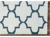 Blue and White area Rugs 5×7 Vienna 5×7 Trellis Shaggy area Rug G3715 In White Blue