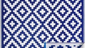Blue and White Aztec Rug Fh Home Indoor Outdoor Recycled Plastic Floor Mat Rug Reversible Weather & Uv Resistant Aztec Blue & White 6 Ft X 9 Ft