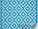 Blue and White Aztec Rug Fh Home Indoor Outdoor Recycled Plastic Floor Mat Rug Reversible Weather & Uv Resistant Aztec Teal and White 4 Ft X 6 Ft