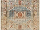 Blue and White Aztec Rug Sitka Cream and Blue Aztec Tribal Distressed Rug
