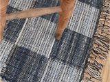 Blue and White Check Rug the Viggo Blue Black and White Check Rug is A Scandi