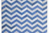Blue and White Chevron Rug Madisons Blue White Chevron Pattern Cowhide area Rug 8×10