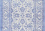 Blue and White Cotton Rug Ivory and Light Blue Vintage Cotton Agra Rug by