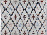 Blue and White Moroccan Rug Vintage Moroccan Rug Diamond Hac Pitrak Pattern White 4 —5 8