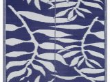 Blue and White Patterned Rug Lightweight Indoor Outdoor Reversible Plastic area Rug Leaf Pattern Blue & White – Beverly Rug