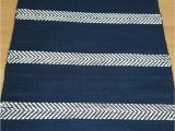 Blue and White Rug Runner Blue and White Rug with Stripes Striped Floor Runner Navy
