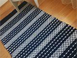 Blue and White Rug Runner Scandinavian Striped Rug Navy Blue and White Floor Runner