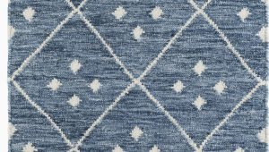 Blue and White Wool Rug Kota Geometric Handmade Blue White area Rug