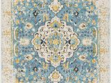 Blue and Yellow Throw Rugs Leaver oriental Light Blue Yellow area Rug