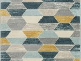 Blue and Yellow Throw Rugs Mystic Modern Vintage Geometric Blue Gray area Rug