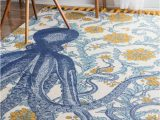Blue and Yellow Throw Rugs Nuloom Thomas Paul Flatweave Octopus Cotton area Rug In Blue